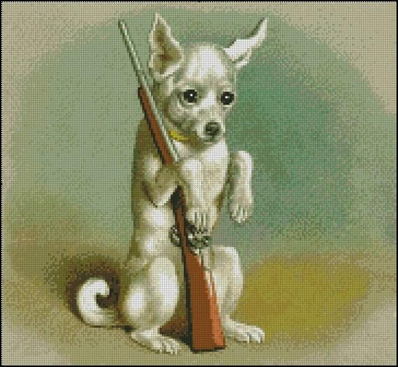 VINTAGE DOG WIith A GUN cross stitch patter No.11