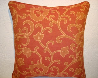 Floral Scroll Pillow with Coral Orange and Pumpkin