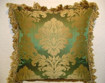 Designer Pillow with Two-Tone Damask and Tassel Fringe