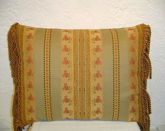 Handmade Pillow with Delicate Floral Stripe and Side Bullion Fringe