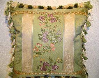 Piecework Designer Pillow in Green Floral Stripe Brocade with Tassel Trim