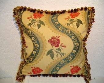 SOLD Designer Pillow with Floral Ribbon Stripe Brocade and Tassel Fringe