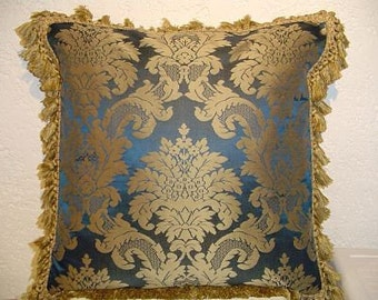 Two Tone Silk Damask Pillow with Tassel Trim