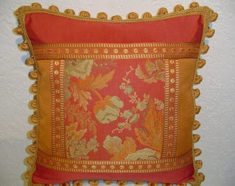 Eclectic Floral Pieced Pillow in Pumpkin, Coral and Khaki
