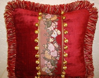 Handmade Red Velvet Pillow with Embroidered Ribbon Inset and Ball Trim