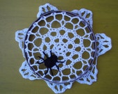 Halloween Crochet Spider on a Doily Web Vintage Hoop