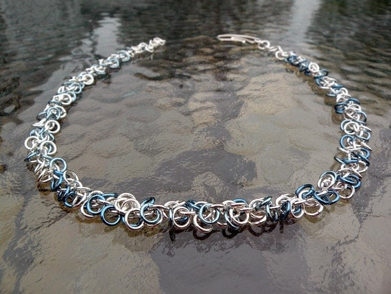 Sterling Silver And Niobium Chainmaille Necklace - Blue Skies Shaggy Loops