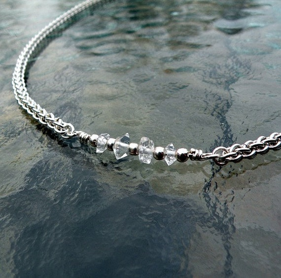Silver Chainmaille Necklace - Herkimer Diamonds - Jens Pind Weave