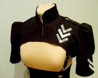 SALE Black aviator shrug (with white lace )