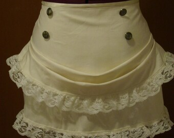 Ivory steampunk mini bustle skirt