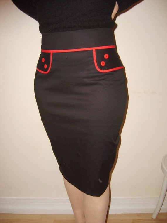 50 s rockabilly pencil skirt by blackmirrordesign on etsy