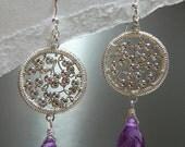 Wire Wrapped Earring - Amethyst Ya-Ya (Purple)  E-0172P