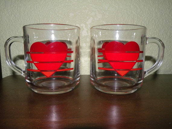 His and Her Glass Heart Mugs - Sale Price