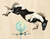 """horse jumping 9"""" x 9"""""""