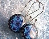 SALE Resin Earrings,blue snowflake earrings, snowflake no. 117 earrings, purple blue earring