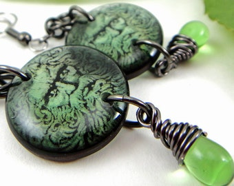 father nature resin earrings, woodland , green man, spring, fairy king