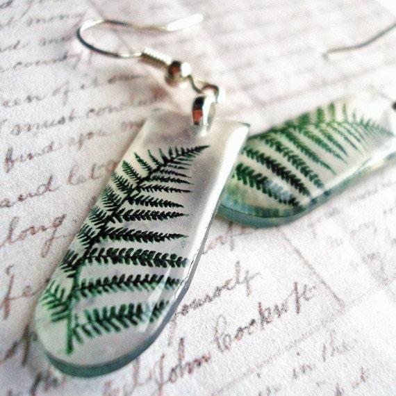one fern slim drop / translucent resin earrings