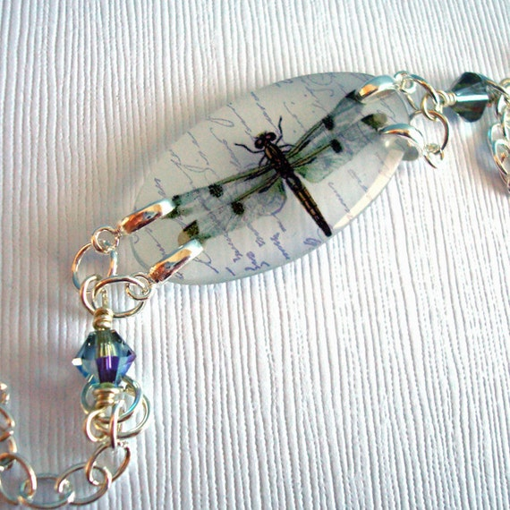 Dragonfly bracelet, pale blue gray , resin bracelet , specimen series, adjustable, gifts under 25