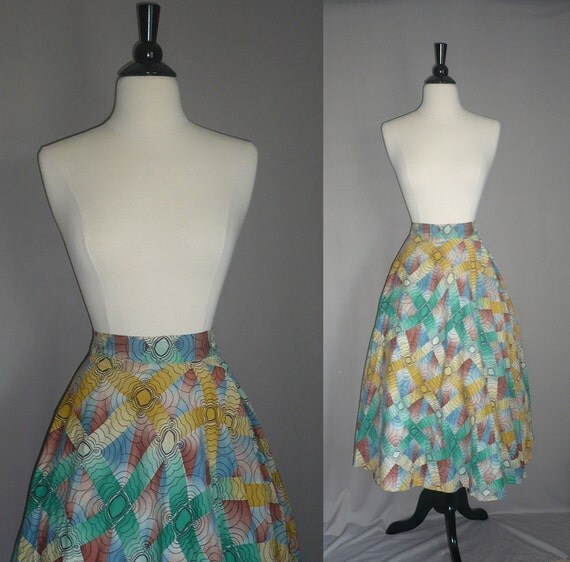 Vintage 50s Multi Colored Abstract Skirt