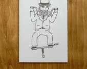 Handle Bar Pogo Stick Man - 5x7 print