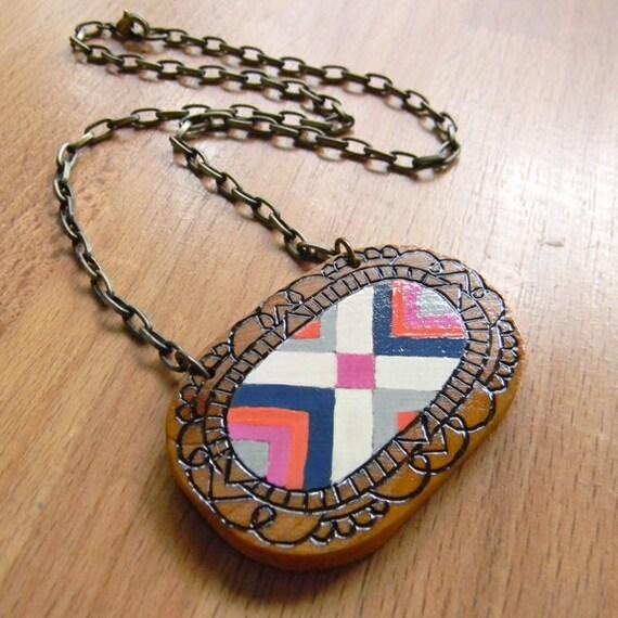 Native Cameo - handmade wood necklace