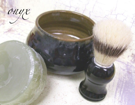 Mens Shaving Mug Set, Onyx - the Perfect Gift for your Man--each handthrown mug is one of a kind