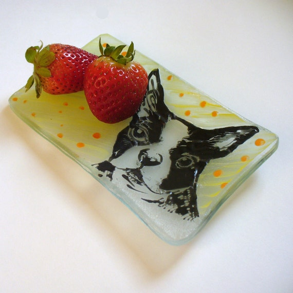 "Custom pet portrait ""Everything Dish"" in Recycled Glass"
