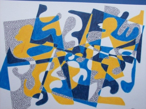Original abstract drawing.Pencil and ink.Blue colorway. Abstract. Le canard du Prusse.The Prussian duck by gojjell on Etsy