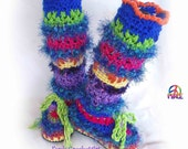 Crochet Slipper Boots/ Leg Warmer Combo Awesome Fashion