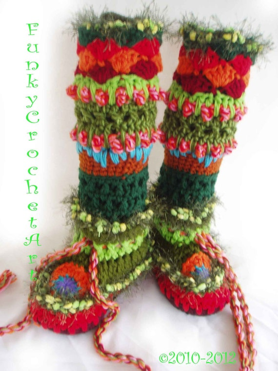 Crochet Slipper Boots/ Leg Warmer Combo Awesome Fashion