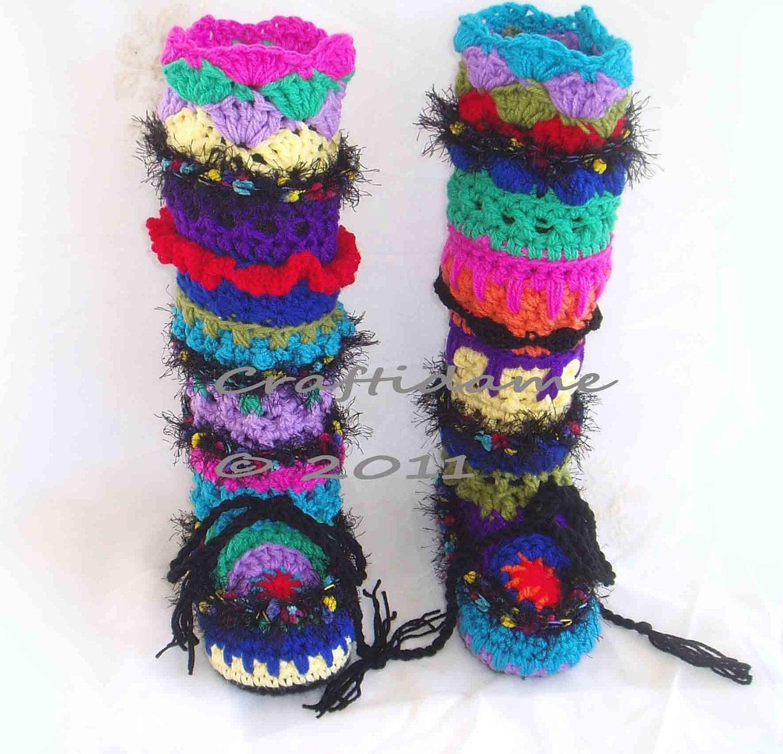 Crochet slipper boots leg warmer combo funky by funkycrochetart