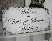 WELCOME TO YOUR WEDDING Custom Names Shabby Cottage Signs 12 x 24