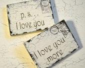 Valentine's Day Gift, Valentine, p.s. I love you, I love you more, Valentine Postcards, 3 1/2 x 5