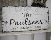 CUSTOM SIGN with Any Name and Date Shabby Cottage 12 x 24 Signs