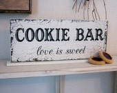 COOKIE BAR Love is Sweet / Self Standing Sign / Shabby Vintage Wedding 4 3/4 x 12