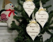 BABY'S 1st Christmas Ornament 2016, Personalized Christmas Ornament, 3 1/4 x 5