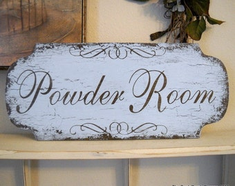 POWDER ROOM Shabby Cottage Bathroom Vintage Inspired Signs 18 x 8