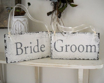 BRIDE and GROOM Set of 2 Chair Signs for your Shabby Vintage Wedding 9 x 5