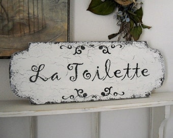 French Signs | LA TOILETTE |  Bathroom Signs | Shabby Chic Bathroom Signs | 22 x 8