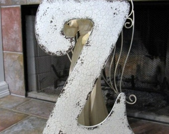 LETTER Z 2 ft tall ANY LETTER A - Z Wedding Guest Book / Save the Date / Vintage Style Cut Out Shabby Cottage Signs