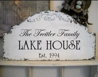 LAKE HOUSE Signs - Family Signs - Beach House Signs - Cabin Signs - 25 x 13