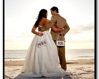WEDDING Chair Signs | MR. & MRS. Chair Signs | Bride and Groom Signs | 9 x 5