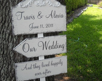WEDDING PACKAGE of Custom Name and Date 10 1/2 x 15 3/4 with 2 Directional 5 1/2 x 16 Arrow Signs