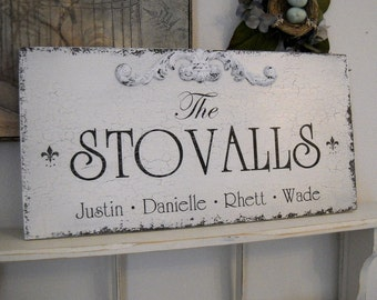 CUSTOM FAMILY SIGN with Names Personalized Shabby Cottage Signs 24 x 12