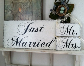 SAVE with this WEDDING PACKAGE - Just Married 12 x 24 and Mr / Mrs - 9 x 5