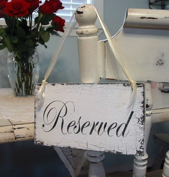 Wedding Sign, RESERVED Sign, Reserved, Bride and Groom Signs, Mr. and Mrs. Table Signs, Wedding Party Sign, 9 x 5