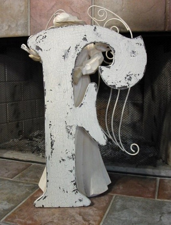 LETTER F Shabby Cottage Wedding Guest Book / Save the Date / 2 ft tall Cut Out Initial French Chic 24 in.