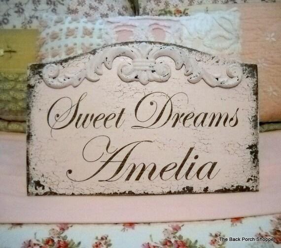 CUSTOM SWEET DREAMS Shabby Nursery Sign with Child's Name HANDPAINTED / NO VINYL 13 x 8 1/2