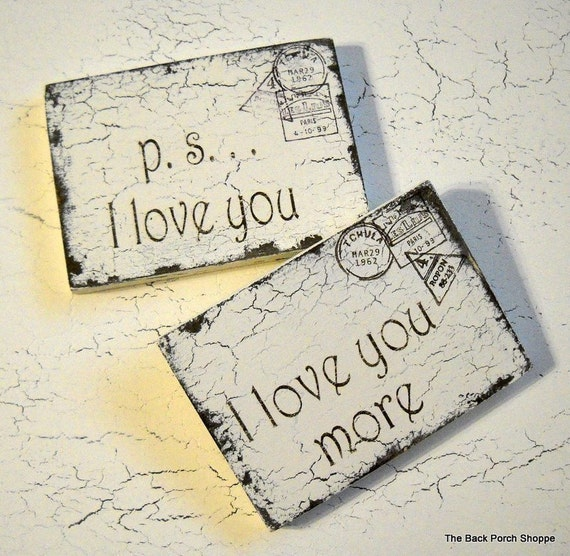 Valentine's Day Gift, Valentine, p.s. I love you, I love you more, Valentine Postcards, 3 1/2 x 5