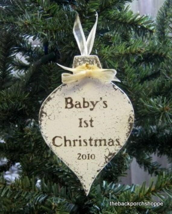 BABYS 1ST CHRISTMAS Ornament 2012, Custom Ornament, Personalized Ornament, Christmas Keepsake 3 1/4 x 5